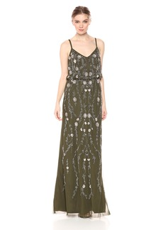 Adrianna Papell Women's Long Spaghetti Strap Blouson with Floral Beading