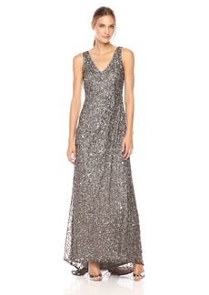 Adrianna Papell Women's Long V Neck Crunchy Bead Gown