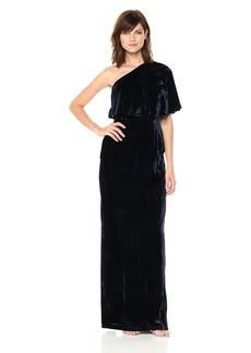 Adrianna Papell Women's Long Velvet One Shoulder Dress