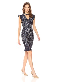 Adrianna Papell Women's Lucy Scroll Lace Ruffle Sheath Dress