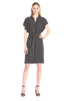 Adrianna Papell Women's Mandarin Collar Shirt Dress