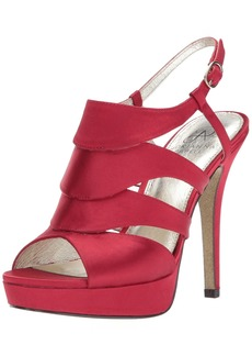 Adrianna Papell Women's Marlene Heeled Sandal red Satin  Medium US