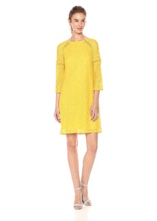 Adrianna Papell Women's Marni LACE 3/4 Sleeve Shift
