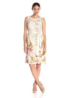 Adrianna Papell Women's Matelasse and Lace Sleeveless A-Line Dress