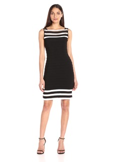 Adrianna Papell Women's Matte Jersey Colorblocked Sheath Dress Black/Ivory