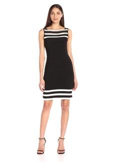 Adrianna Papell Women's Matte Jersey Colorblocked Sheath Dress Black/Ivory
