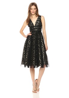Adrianna Papell Women's Metallic Clip Dot Cocktail Dress