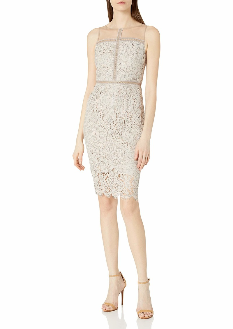 Adrianna Papell Women's Metallic Corded Lace Sheath Cocktail Dress