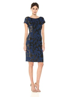 Adrianna Papell Women's Metallic Floral Jacquard Sheath Dress with Short Sleeves