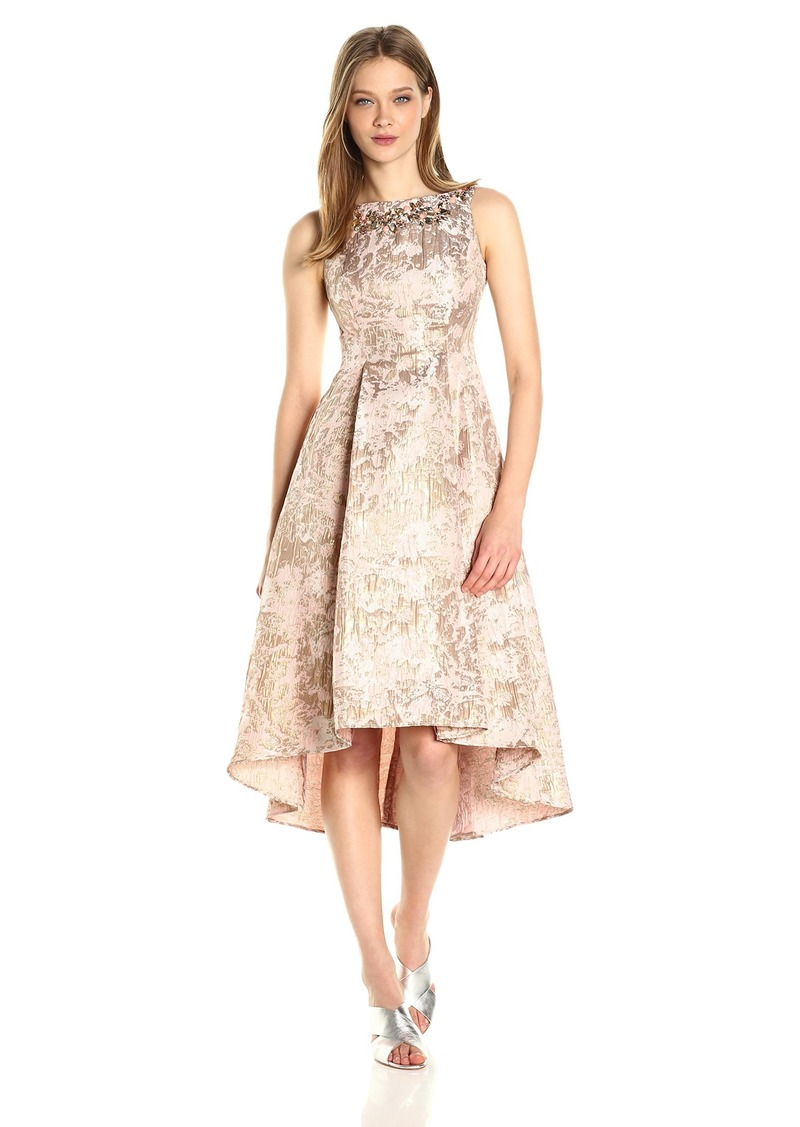 Adrianna Papell Women's Metallic Jacquard Fit and Flare Dress
