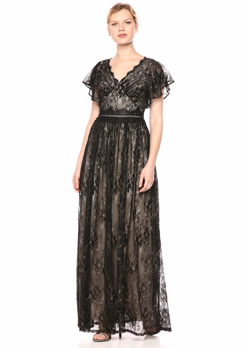 Adrianna Papell Women's Metallic LACE Long Dress