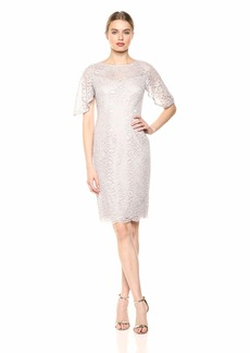 Adrianna Papell Women's Metallic Lace Sheath Dress with Flutter Sleeves ICY Lilac
