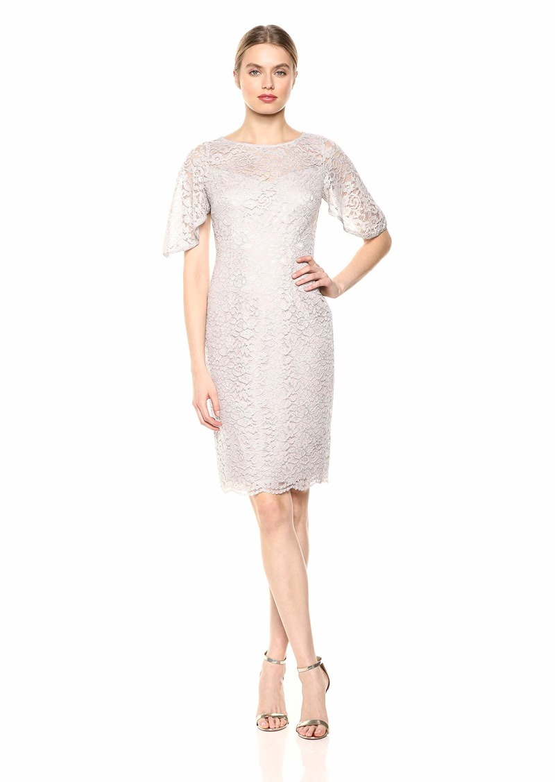 Adrianna Papell Women's Plus Size Metallic Lace Sheath Dress with Flutter Sleeves ICY Lilac