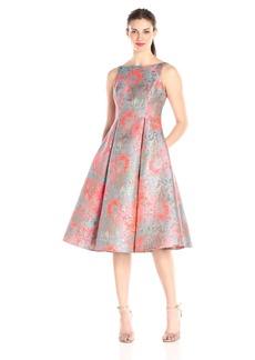 Adrianna Papell Women's Midi Sleeveless Jacquard Party Dress