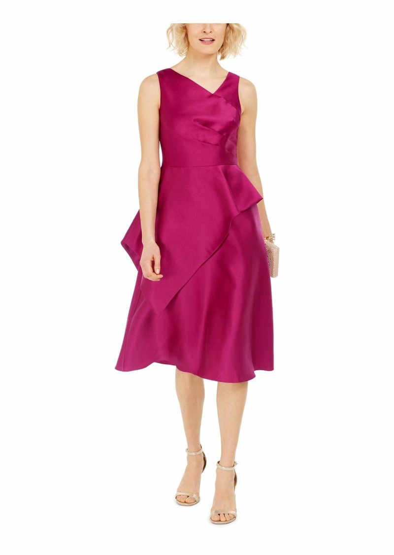 Adrianna Papell Women's Mikado MIDI Dress RED Plum