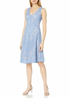 Adrianna Papell Women's Mitred Strpd LCE Fit and Flare