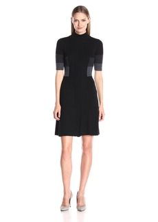 Adrianna Papell Women's Mock Neck Colorblock Flare Dress