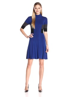Adrianna Papell Women's Mock Neck Colorblock Flare Dress