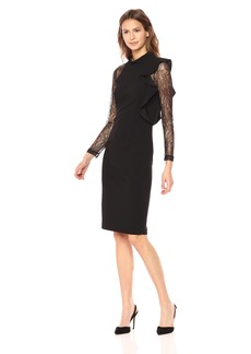 Adrianna Papell Women's Mock Neck Sheath Dress with Lace