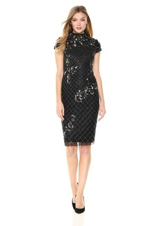 Adrianna Papell Women's Mock Neck Short Sleeve Beaded Cocktail Dress