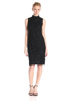 Adrianna Papell Women's Mock Turtle Neck Beaded Sheath Dress