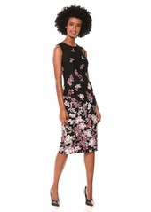 Adrianna Papell Women's Modern Sheath Floral Printed Knit Crepe Dress