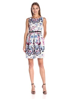 Adrianna Papell Women's Moving Floral Printed Faille Fit and Flare