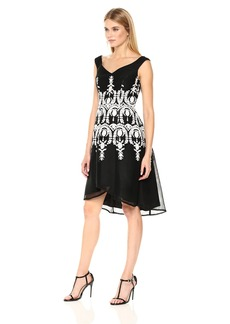 Adrianna Papell Women's Neoprene Fit and Flare Dress with Mesh and Embroidery Black/Ivory