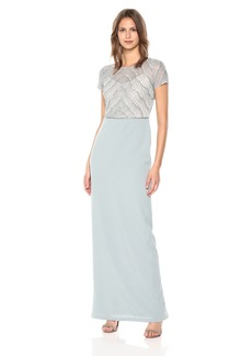 Adrianna Papell Women's New Deco Beaded Mesh Bodice with Knit Crepe Column Skirt