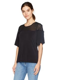 Adrianna Papell Women's Noelty Illusion Neck Flounce Sleeve Top  XLarge