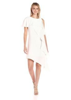 Adrianna Papell Women's Novelty Gauzy Crepe Cold Shoulder Asymmetric Dress