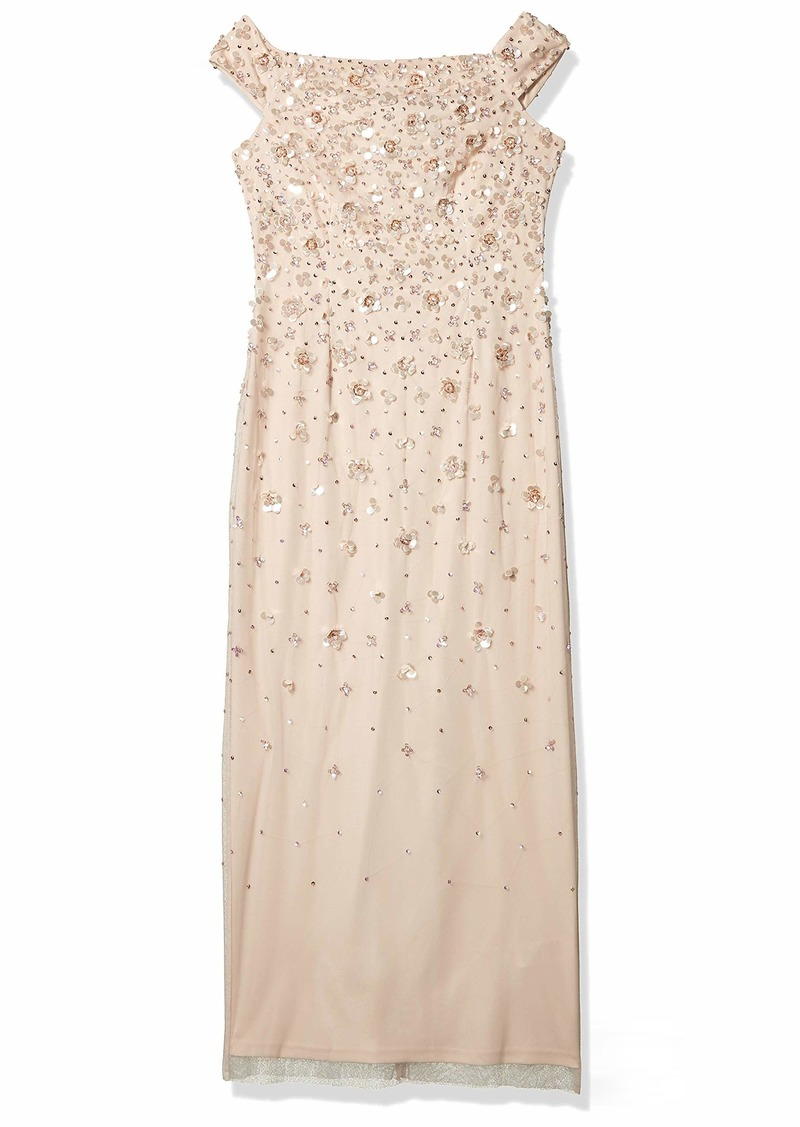 Adrianna Papell Women's Off Shoulder Beaded Gown SHELL