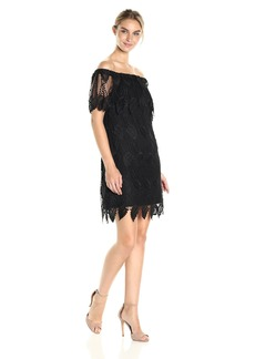 Adrianna Papell Women's Off Shoulder Lace Shift Dress