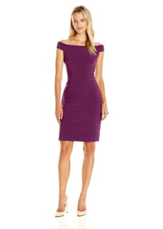 Adrianna Papell Women's Off Shoulder Novelty Stitched Band Dress