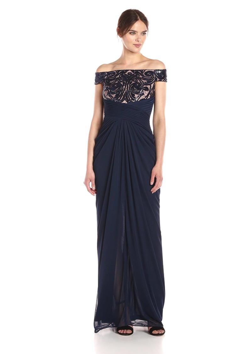 Adrianna Papell Women's Off Shoulder Sequin and Stretch Tulle Gown