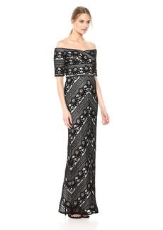 Adrianna Papell Women's Off Shoulder Stripe LACE Column Gown