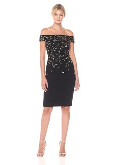 Adrianna Papell Women's Off The Shoulder Cocktail Dress with Beaded Bodice
