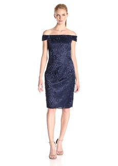 Adrianna Papell Women's Off the Shoulder Guipure Dot Lace Dress