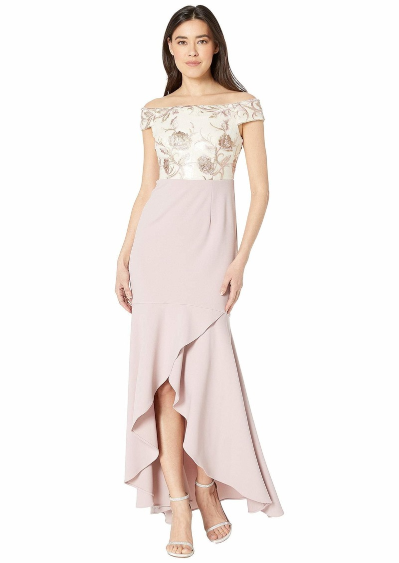 Adrianna Papell Women's Off The Shoulder High Low Dress with Floral Details