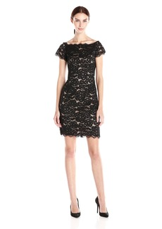 Adrianna Papell Women's Off The Shoulder Lace Sheath Dress With Contrast Lining