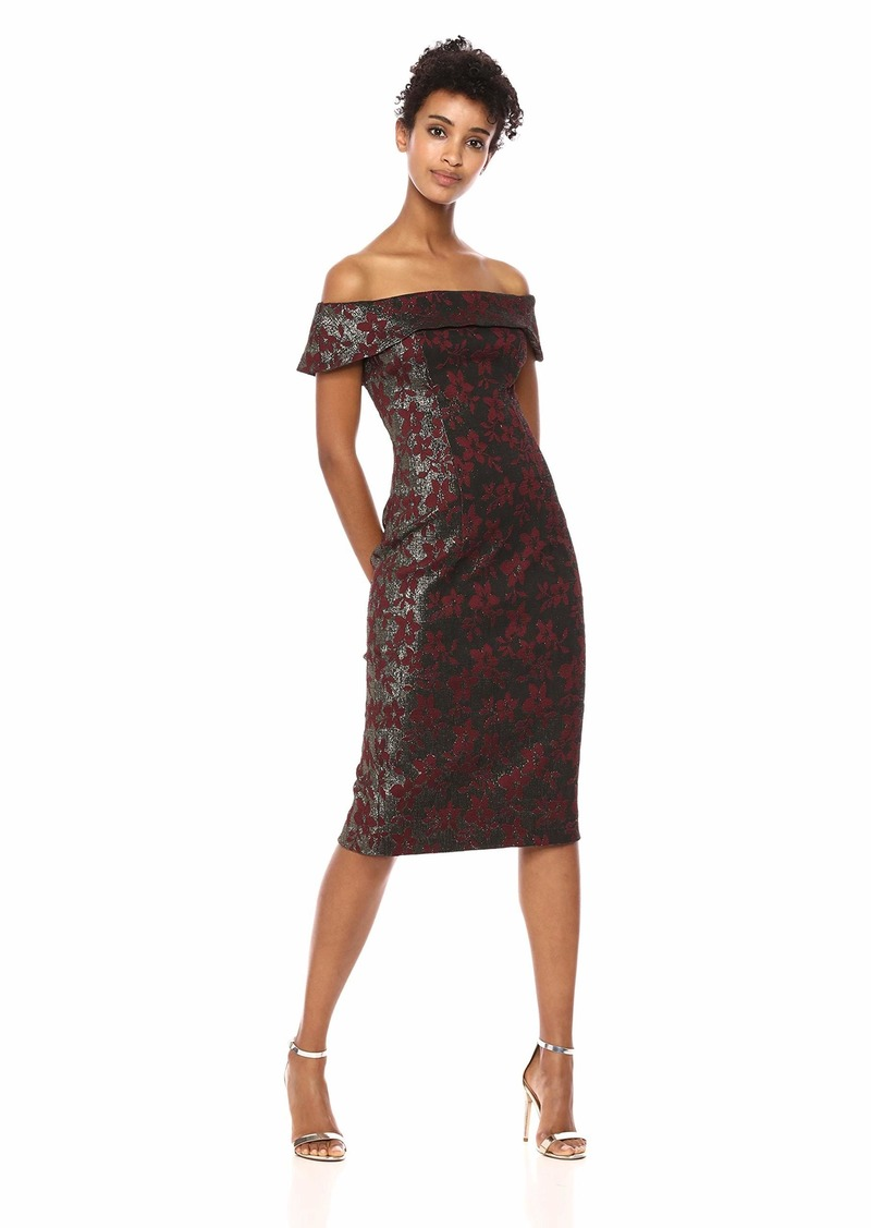 Adrianna Papell Women's Off The Shoulder Metallic Jacquard Modern Sheath Dress