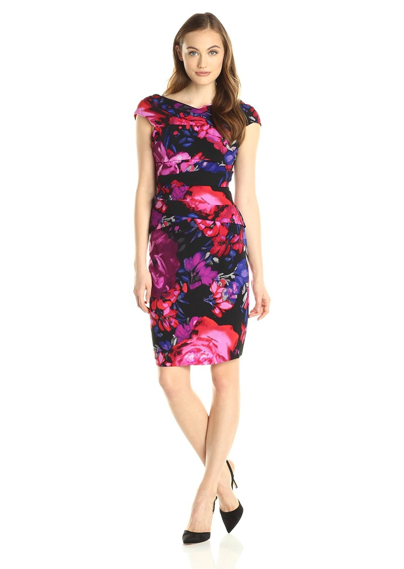 Adrianna Papell Women's Off The Shoulder Printed Gathered Dress