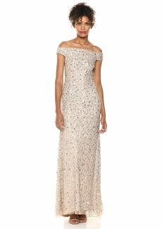 Adrianna Papell Women's Off The Shoulder Sequin Beaded Gown