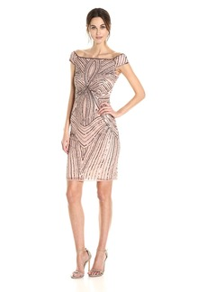 Adrianna Papell Women's Off the Shoulder Swirl Beaded Cocktail Dress