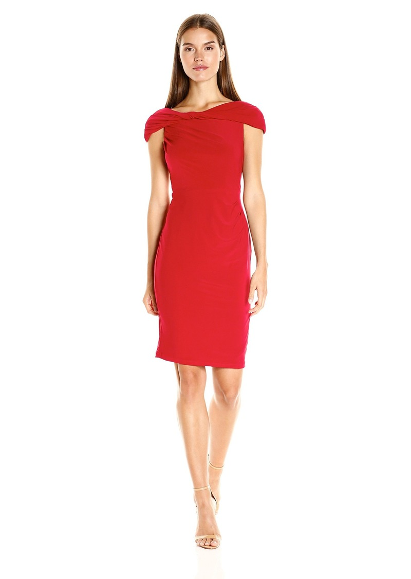 Adrianna Papell Women's Off the Shoulder Twisted Jersey Dress
