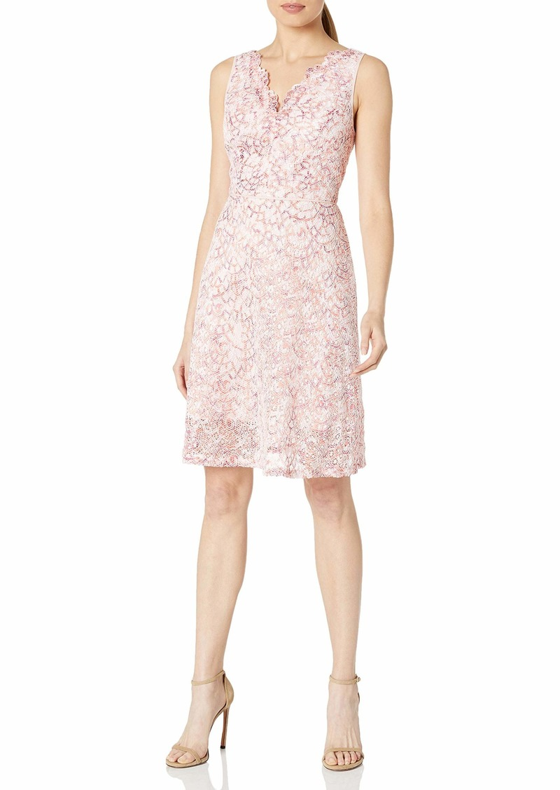 Adrianna Papell Women's Ombre Lace Fit & Flare Dress