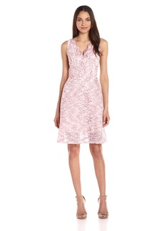 Adrianna Papell Women's Ombre Lace Fit and Flare Dress