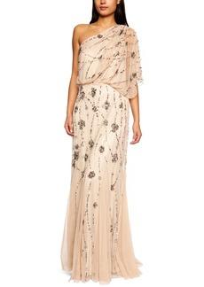 Adrianna Papell Women's One Shoulder Beaded Blousant Dress