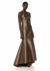 Adrianna Papell Women's One Shoulder Iridescent Faille Long Dress
