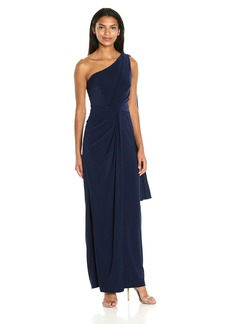 Adrianna Papell Women's One Shoulder Jersey Halter Long Gown